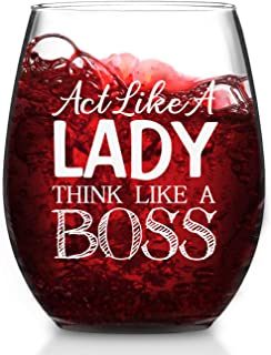 Boss Lady Gift - Act Like A Lady Think Like A Boss Stemless Wine Glass, Boss Lady Wine Glass for Female Boss Mom Girlfriend Coworker, Unique Office Gift Idea for Bosses Day Christmas Birthday, 15 Oz