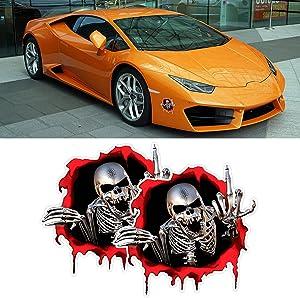 2 Pcs Car Skull Decal, Aggressive Middle Finger Skeleton Hand Cartoon Sticker, Fit Car Window, Bumper, Door, Automobile Tail Door (Red)