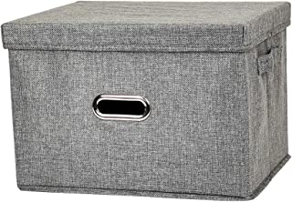 Foldable Storage Box with Lid[1-Pack]Linen Fabric Storage Box Collapsible Storage Basket Bins with Lids for Bedroom Clothes Storage Containers for Home Bedroom Closet(Gray, Medium)