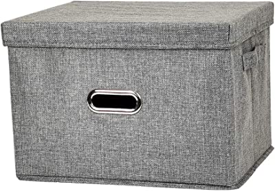 Large Collapsible Storage Boxes with Lids[1-Pack]Linen Fabric Decorative Storage Box,Foldable Storage Bin with Lid, Clothes Storage Containers(17.3L x 11.4W x 11.8H inches) (Gray)
