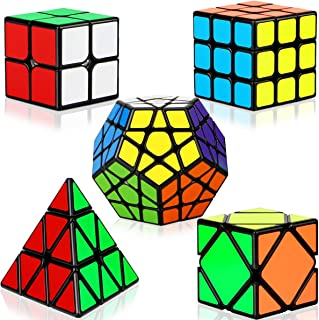 Speed Cubes, [5 Pack] Speed Cube Set - 2x2x2 3x3x3 Megaminx Skew Pyramid Cube Smooth Magic Cubes Collection Puzzle Boxes Toy