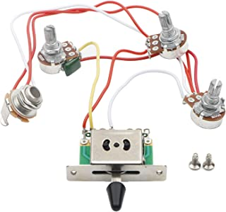 JIUWU Strat Guitar Wiring Harness Prewired 3x 500k Pots 1 Volume 2 Tone Control Knobs 5 Way Switch