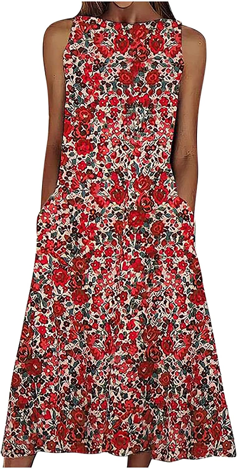 CANDITY Women's Floral Print Dress High Neck Sleeveless Midi Dress Casual Dresses with Pockets Loose Fit Flowy Dress