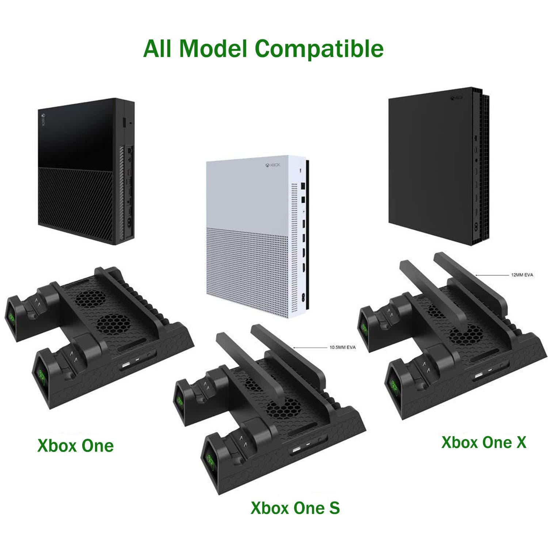 Megadream - Soporte de ventilador de refrigeración para Xbox One, Xbox One S /Xbox One X y 2 baterías de 600 mAh y 12 discos de almacenamiento para Xbox One: Amazon.es: Electrónica