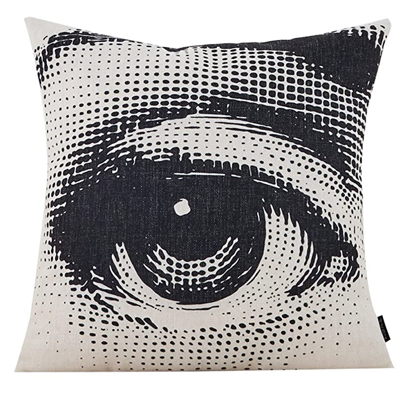 MR FANTASY Cotton Linen Throw Pillow Case Decorative Cushion Cover Square Pop Art Personalized Eye 18X18in