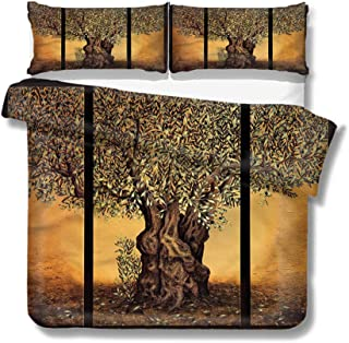 Mademai Twin Size Duvet Cover Set Tree of Life,Greece Olive Trees Decorative 3 Piece Bedding Set with 2 Pillow Covers