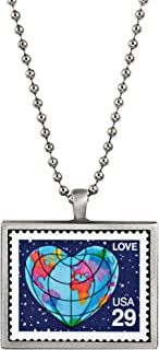 American Coin Treasures A World of Love United States Postage Stamp Ball Chain Pendant Necklace