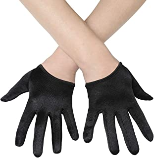 BABEYOND Short Opera Satin Party Gloves Half Palm Gloves Wedding Evening Gloves 20s Gloves for Special Occasion