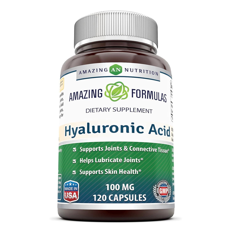 凝視テーブルを設定するホースAmazing Formulas Hyaluronic Acid 100 mg 120 Capsules - Support healthy connective tissue and joints - Promote youthful healthy skin