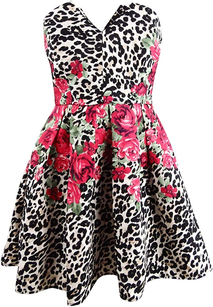 Teeze Me Womens Floral Animal Print Party Dress