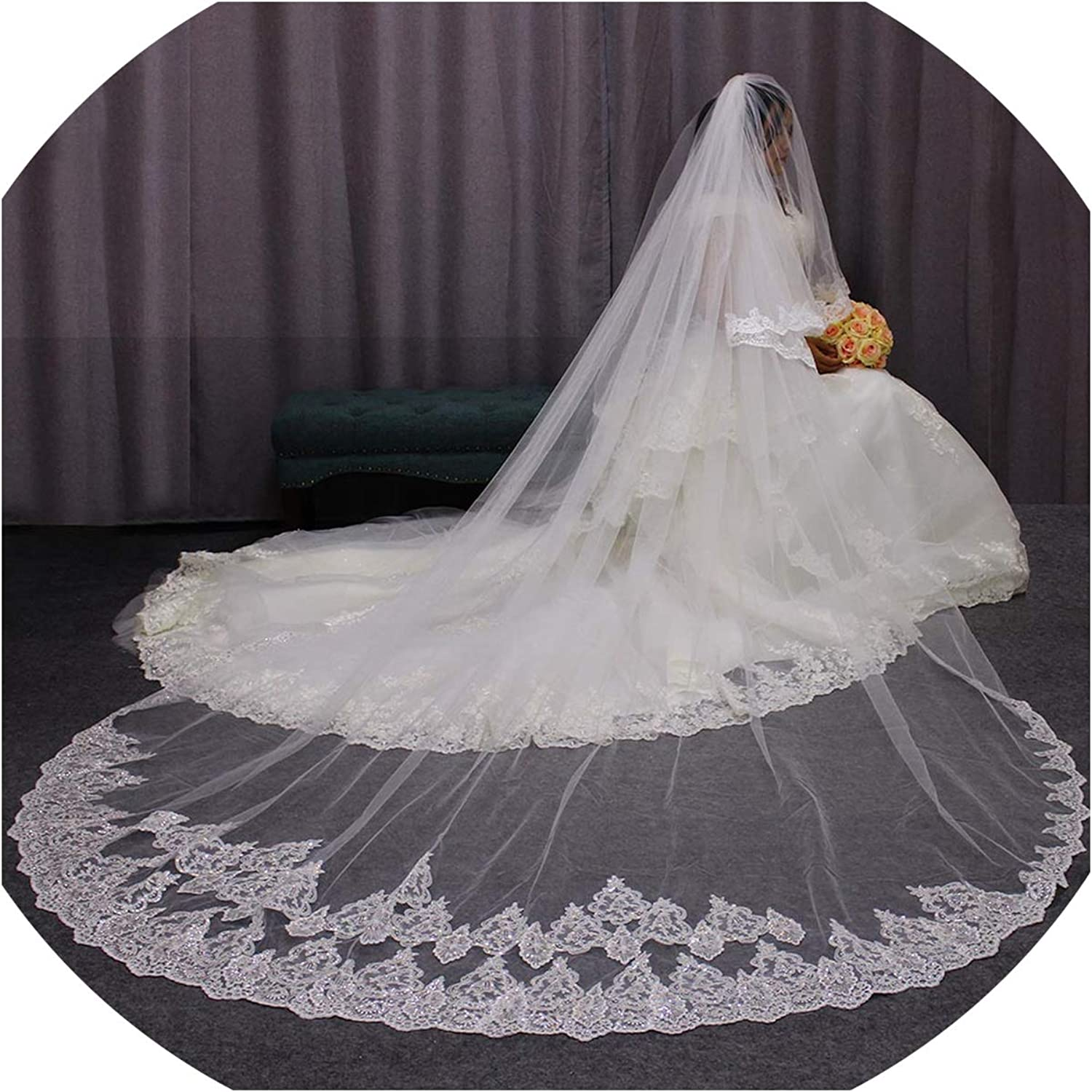 3 Meters Long Wedding Veils 2 Layers Bling Sequins Lace Edge Cathedral Bridal Veil with Comb Velo De Novia,WHITE,300cm