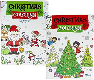 Set of 2 Christmas Coloring Books for Toddlers, Kids, Boys and Girls of All Ages – Child Care, Snow Days, Winter Vacation,...