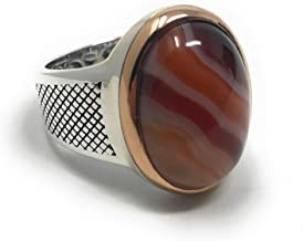 KAR 925K Sterling Silver Natural VEINY Agate (Aqeeq) Men's Ring K32F