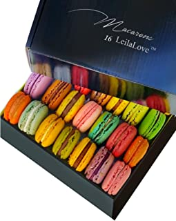 Leilalove Macarons 16 Macaron Collections with dozen Flavors Elegant Gentleman classy gift box Fresh Baked to Order