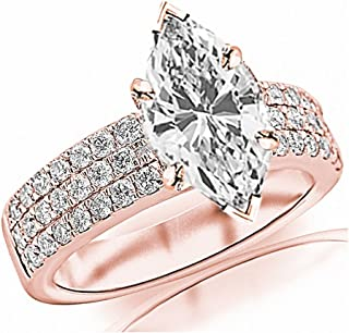 1.75 Ctw 14K White Gold Contemporary Modern 3 Row Marquise Cut GIA Certified Diamond Engagement Ring (1 Ct J Color I1 Clarity Center Stone)