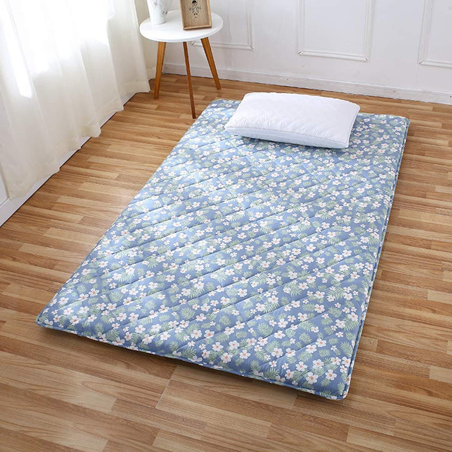 Foam Tatami Floor Mattress,Cotton Quilted Floral Printed Foldable Hypoallergenic Bed Mattress pad Predector for Dorm -bluee 90x190cm(35x75inch)