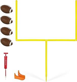 GoSports PRO Kick Challenge Field Goal Post Set with 4 Footballs and Kicking Tee | Life Sized Backyard Field Goal for Kids & Adults