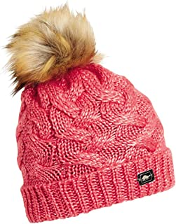 Turtle Fur Women's Glamper Fleece Lined Cable Knit Faux Fur Pom Beanie