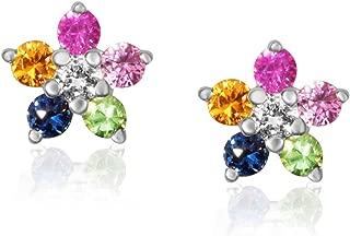14K Gold and Precious Gemstones Flower Stud Fashion Earrings