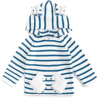Curipeer Unisex Baby Boy Girl Sweater Striped Long Sleeve Cotton Knit Pullover Cute Bear Hoodie Sweatshirt Winter Fall Coat