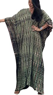 YouKD Summer Cotton Floral Long Kaftan Bohemian Kimono Beach Swimsuit Cover Up Maxi Dress for Women
