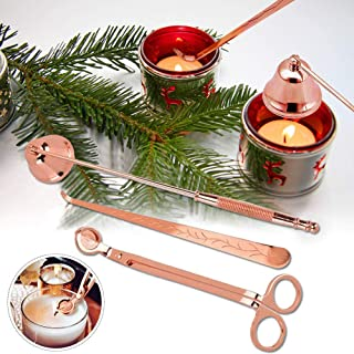 FunMove 3 Pieces Candle Accessory Set Candle Wick Trimmer Candle Snuffer Candle Wick Dipper Rose Gold Cutter Scissor Stain...