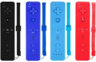 $55 » ZeroStory Remote Controller with Silicone Case and Wrist Strap Compatible for Wii Wii U Console (4 Pack, Black+Dark Blue+R...