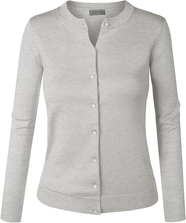 BIADANI Women Button Max 79% OFF Down Long Max 83% OFF Sweat Sleeve Soft V-Neck Cardigan