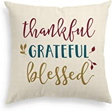 AVOIN Thankful Grateful Blessed Throw Pillow Cover, 18 x 18 Inch Fall Thanksgiving Linen Cushion Case Decoration for Sofa Couch