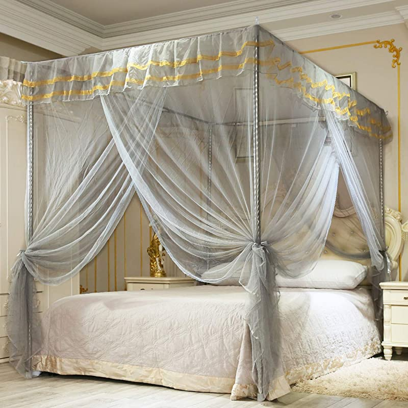 Nattey Simple 4 Corners Post Canopy Bed Curtain For Girls Boys Adults Gift 4 Opening Bedroom Decoration Queen Gray