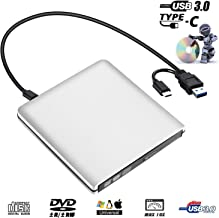 External DVD Drive,USB 3.0 Portable CD Drive +/-RW Drive PlayerWriter/Rewriter/Burner High Speed Data Transfer for MacBoo,Laptops,Desktops,Notebooks Support Windows 10