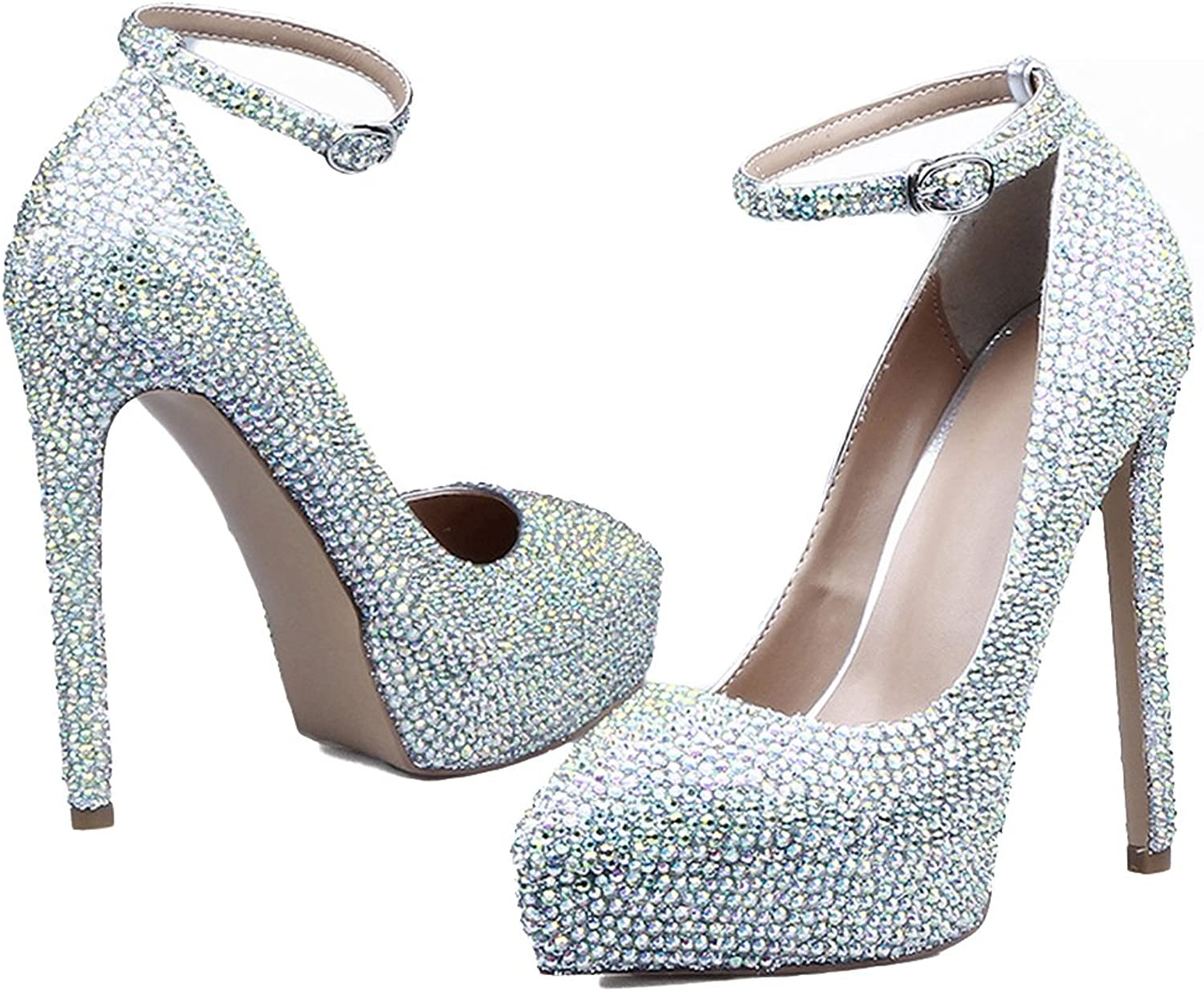 Lacitena Rhinestone Heels, Silver Crystal High Heels,Luxury Sparkly Ankle Strap Pointed Toe shoes