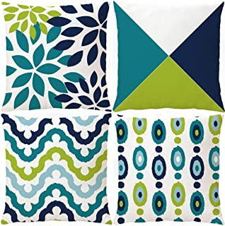 Wilproo Decorative Green Blue Abstract Throw Pillow Covers 16x16 Inch Set of 4, Geometric Cotton Linen Outdoor Cushion Cover Square Pillowcase for Car Sofa Couch Home Decor