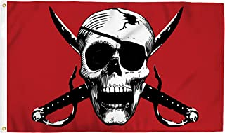 Crimson Pirate 3x5 Foot Skull Party Flag - Bold Vibrant Colors, UV Resistant, Golden Brass Grommets, Durable 100 Denier Polyester, Mighty-Locked Stitching - Perfect for Indoor or Outdoor Flying!