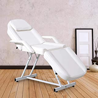 Massage Facial Bed Adjustable Table Chair Beauty Spa Salon Tattoo (White)