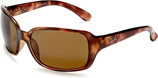 RAY-BAN RB4068 Square Sunglasses, Havana/Polarized Brown, 60 mm