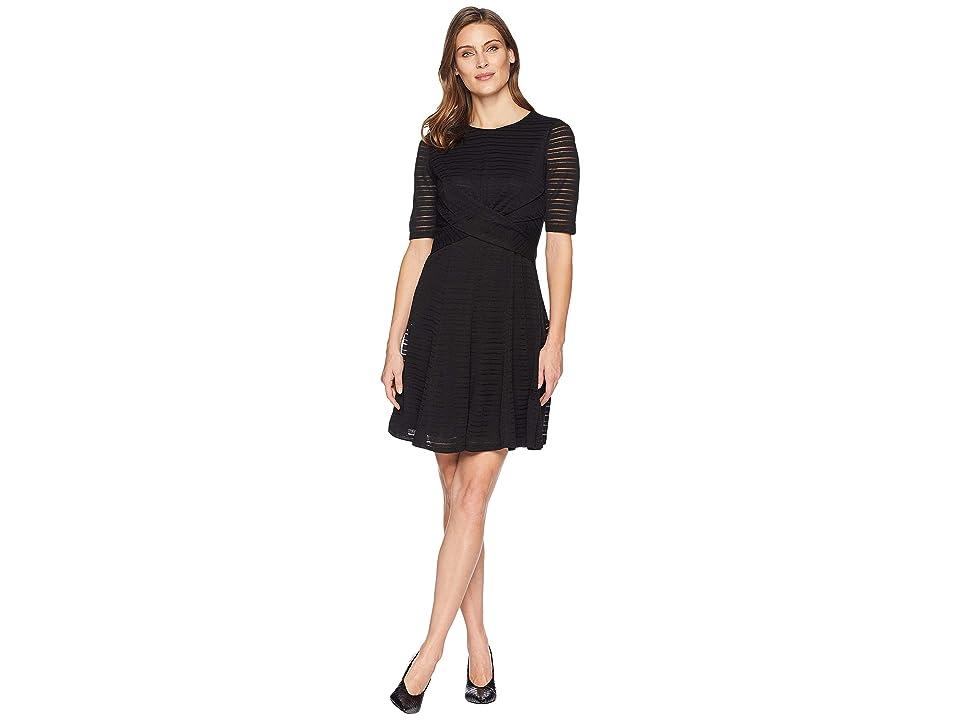 London Times Waist Wrape Fit Flare Dress (Black) Women