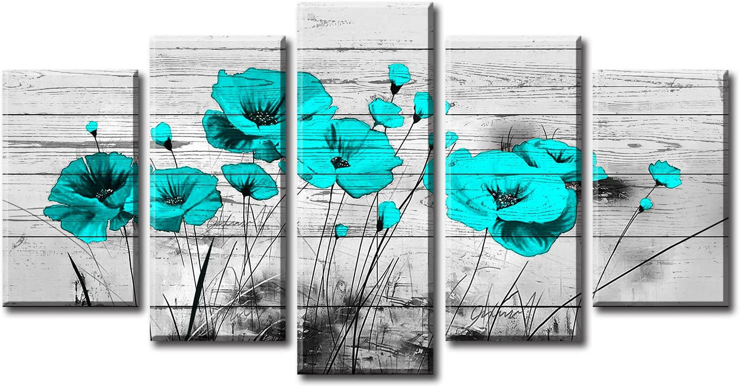 JiazuGo Teal Wall Decor Poppy Pictures for Bedroom Framed Wall Art Flowers Paintings on Canvas Modern Floral Artwork Decorations