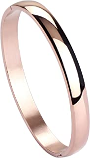 MILAKOO Womens 8MM Stainless Steel Brecelet Plain Polished Finish Cuff Bangle 7