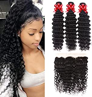 Deep Wave 3 Bundles with Frontal (18 20 22+16) Brazilian Bundles with Frontal Virgin Hair 100% Unprocessed Human Hair Extensions Natural Color
