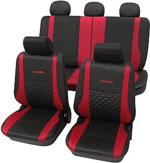 CDExclusiverot1062 17 teilig Eco Class rot schwarz Lederlook Sitzbezug Schonbezüge Schonbezug Autoschonbezug