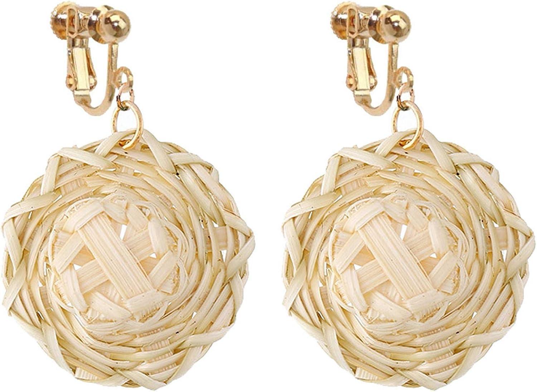 Non Pierced Rattan Clip On Earrings For Girls Women Lightweight Geometric Statement Small Hat Dangle Bohemian Handmade Woven Straw Wicker Braid Hoop Drop Vacation Ears Jewelry