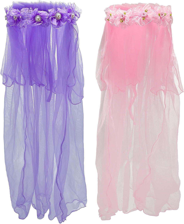 Wlon Veils Wreath Tiaras Veil Gauze Headdress for Girls,set of 2