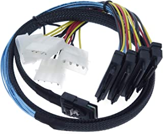 EDIMS Internal Mini SAS 4i SFF-8087 36 Pin to SAS 4X SFF-8482 29Pin Hard Disk SAS Cable with 4X 4Pin Power Cable,3.3FT