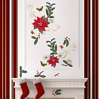 ufengke Christmas Poinsettia Flower Wall Stickers Butterflies Window Clings Decal for Showcase Home Decor Merry Christmas Decoration