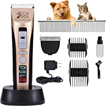 Rision Pet Grooming Clippers-【with 2 Shaving Heads】 5 Speed(MAX 7,000RPM) Professional Dog Trimmer, Low Noise Rechargeable Cordless Dog Hair Grooming Clippers Pet Shaver for Dogs Cats