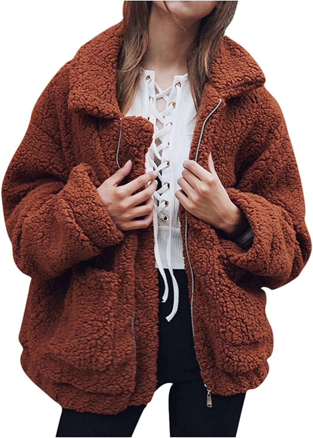 GERsome Ladies Warm Faux Furry Coat for Women's Winter Oversized Turn Down Collar Jacket Fashion Zipper Pockets Outerwear Brown