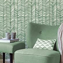 RoomMates Cat Coquillette Herringbone Green and White Peel and Stick Wallpaper