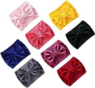 8 PACK Elastic Stretchy Elastic Soft Nylon Wide Bowknot Velvet Bow Headbands Hairband Bows Knot Turban Headwraps Hair Bows...