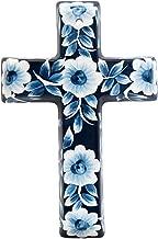 Precious Home Collection, Blue Floral Decoration Cross, 9- 3/16